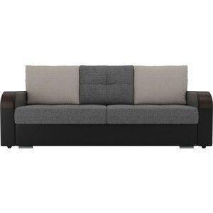 Диван ЛигаДиванов Мейсон рогожка серый экокожа черный подушки серые бежевые - фото 3