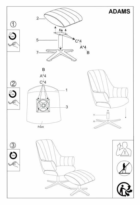 Кресло Signal ADAMS VELVET BLUVEL 14, кресло+подставка для ног (серый) ADAMSVSZ - фото 2