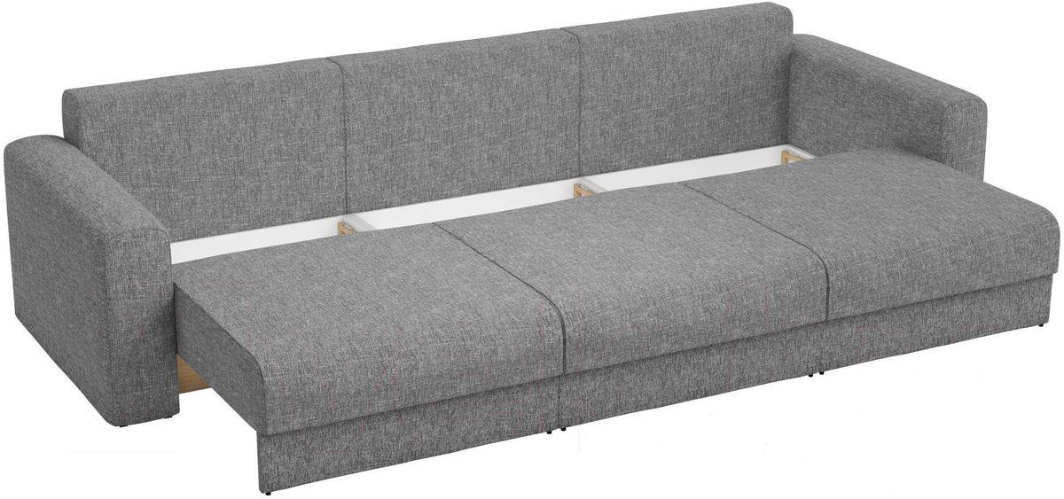 Диван Mebelico Мэдисон Long 69 59107/59210 рогожка серая, подушки бежевый/серый - фото 4