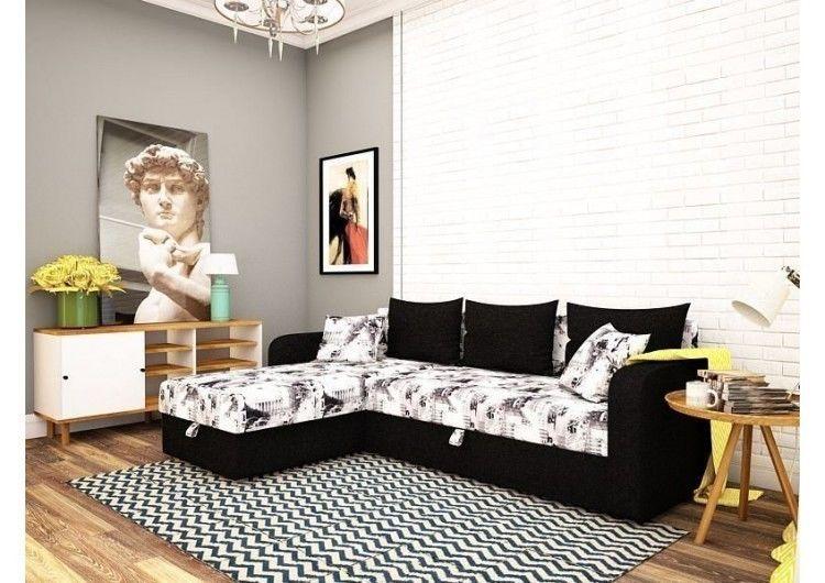 Диван Раевская мебельная фабрика Угловой в ткани микровелюр комбинированный 61 - фото 1