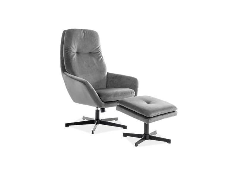 Кресло Signal FORD VELVET BLUVEL 14, кресло+подставка для ног (серый) FORDVSZ - фото 1