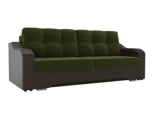 Диван ЛигаДиванов Браун 102171 микровельвет зеленый/экокожа коричневый - фото 1