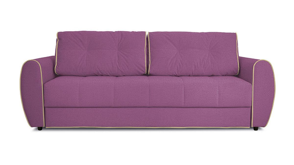 Диван ТриЯ «Оливер» (Maserati 18 (велюр) фиолетовый  кант Miami 01 (рогожка), песочный) - фото 2
