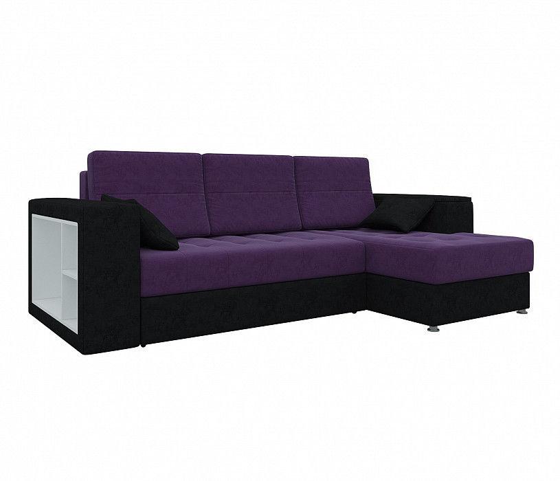Диван Mebelico Атлантис Угловой Микровельвет фиолетовый\черный - фото 1