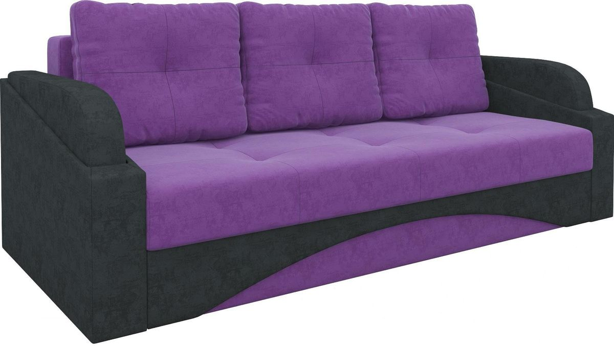Диван Mebelico Панда 70 микровельвет фиолетовый/черный - фото 1