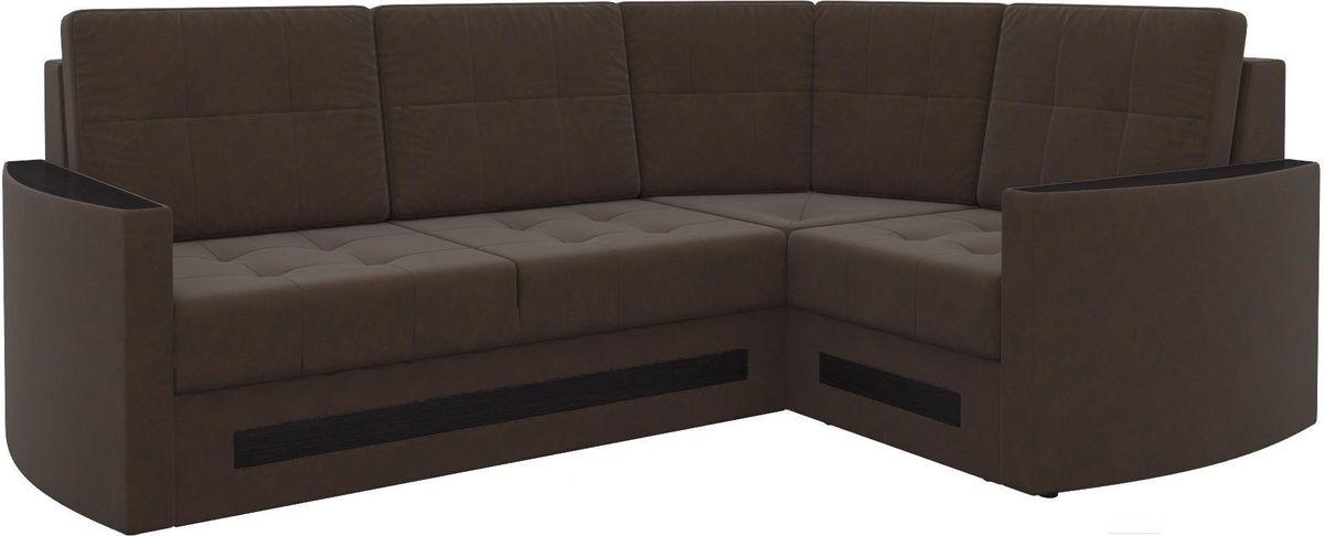 Диван Mebelico Белла У 476 правый вельвет коричневый - фото 1
