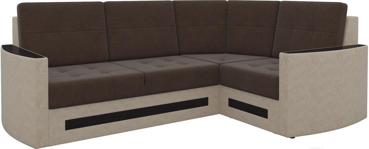 Диван Mebelico Белла У 476 правый вельвет коричневый/бежевый - фото 5