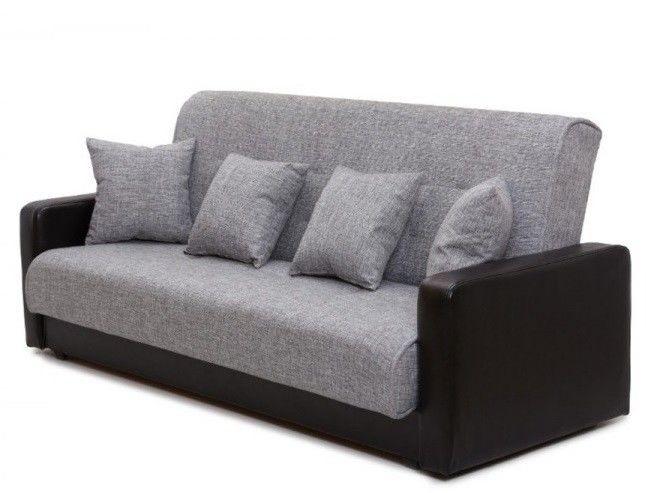 Диван Луховицкая мебельная фабрика Лондон (рогожка серая комби) пружинный 120x190 - фото 3