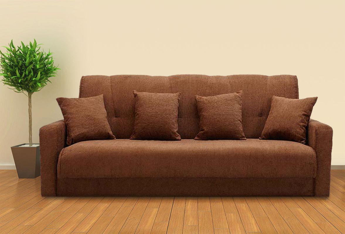 Диван Луховицкая мебельная фабрика Милан 120х190 шенилл тёмно-коричневый пружинный - фото 1