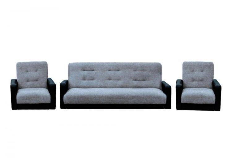 Набор мягкой мебели Луховицкая мебельная фабрика Лондон серая рогожка комби 120х190 (диван + 2 кресла) - фото 1