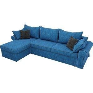 Диван ЛигаДиванов Элис 123 угловой левый 60651 велюр голубой, черные подушки - фото 2