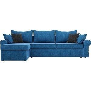 Диван ЛигаДиванов Элис 123 угловой левый 60651 велюр голубой, черные подушки - фото 3