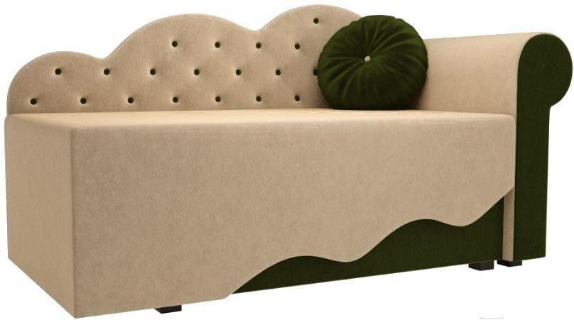 Диван Mebelico Тедди-1 106 правый 60486 микровельвет бежевый/зеленый - фото 1
