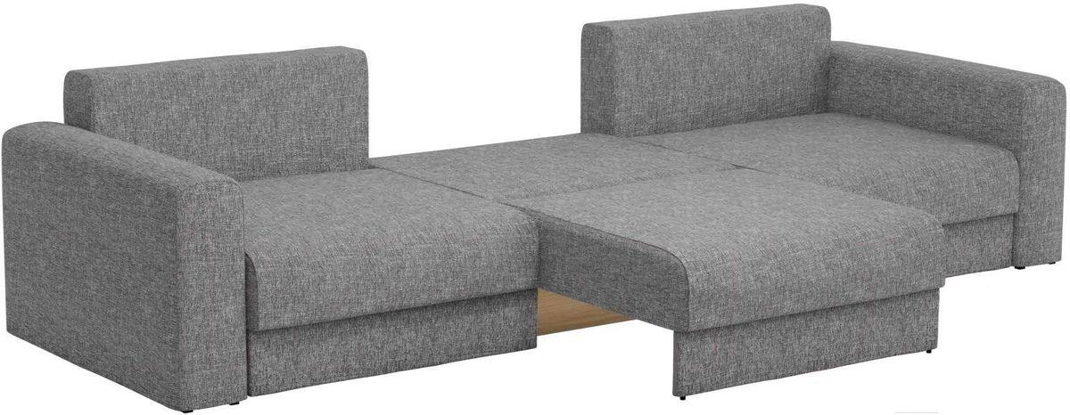 Диван Mebelico Мэдисон Long 69 59107/59210 рогожка серая, подушки бежевый/серый - фото 5