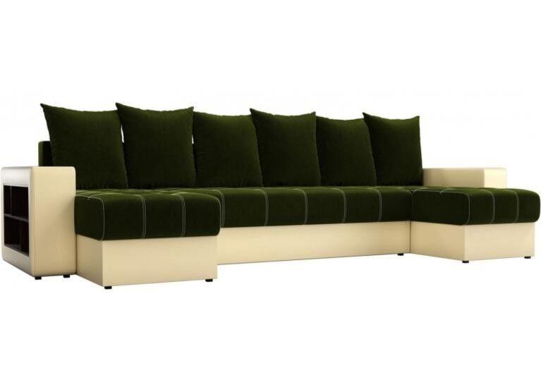 Диван Craftmebel Дубай П-образный зелёный вельвет/бежевая экокожа - фото 1