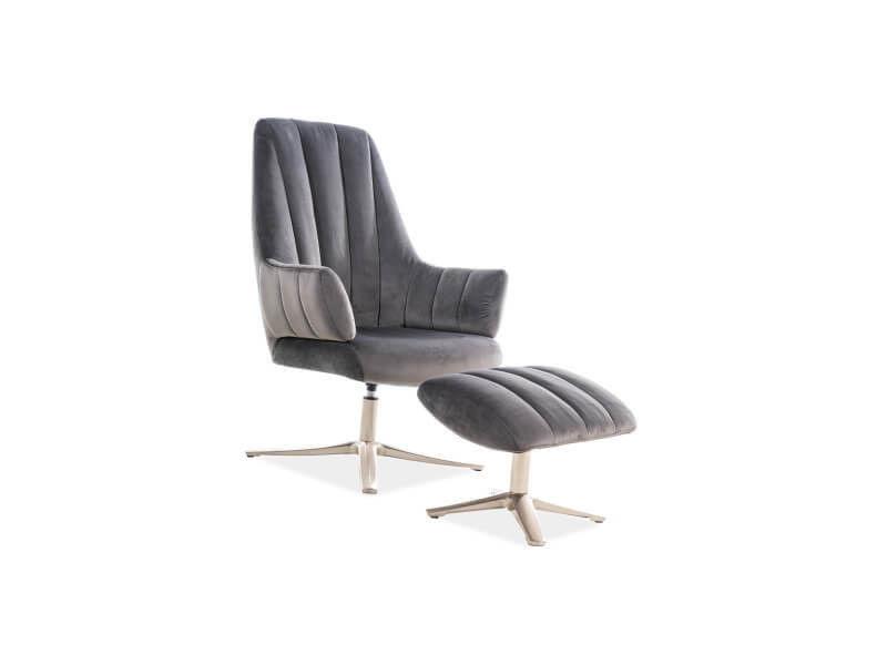 Кресло Signal ADAMS VELVET BLUVEL 14, кресло+подставка для ног (серый) ADAMSVSZ - фото 1