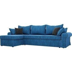 Диван ЛигаДиванов Элис 123 угловой левый 60651 велюр голубой, черные подушки - фото 1