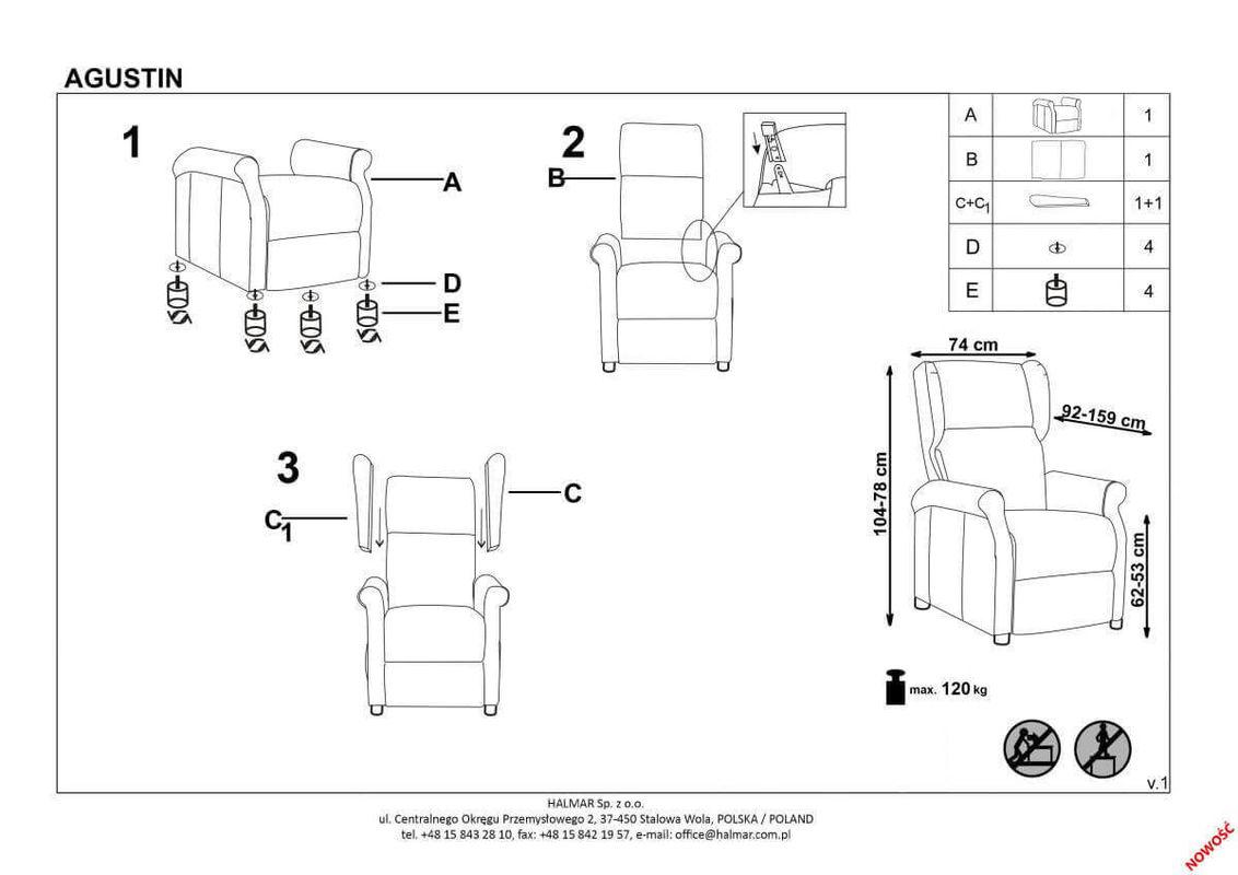 Кресло Halmar AGUSTIN 2 (горчичный) V-CH-AGUSTIN_2-FOT-MUSZTARDOWY - фото 2