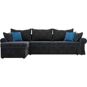 Диван ЛигаДиванов Элис 123 угловой левый 60654 велюр черный, голубые подушки - фото 4