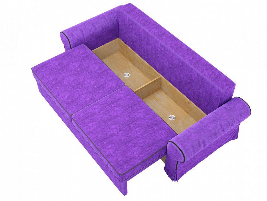Диван Mebelico Элис прямой Велюр фиолетовый\черный - фото 7