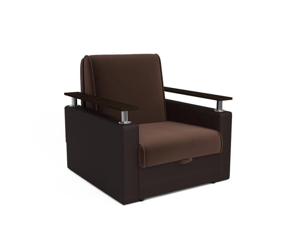 Кресло Мебель-АРС Шарм - шоколад (микровелюр + экокожа) - фото 1