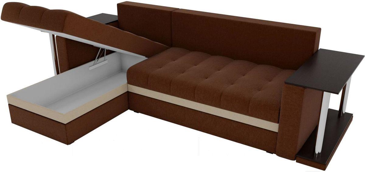 Диван Mebelico Атланта М левый 2 стола рогожка коричневый - фото 4