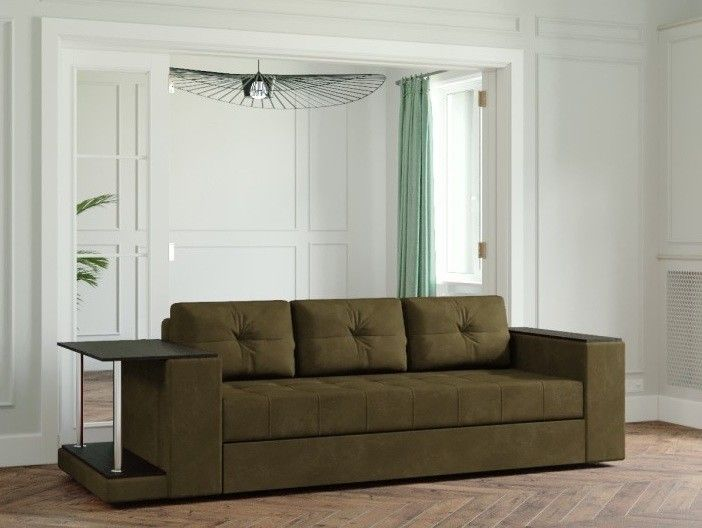 Диван Настоящая мебель Ванкувер Лайт со столом (модель 00-00003458) коричневый - фото 1