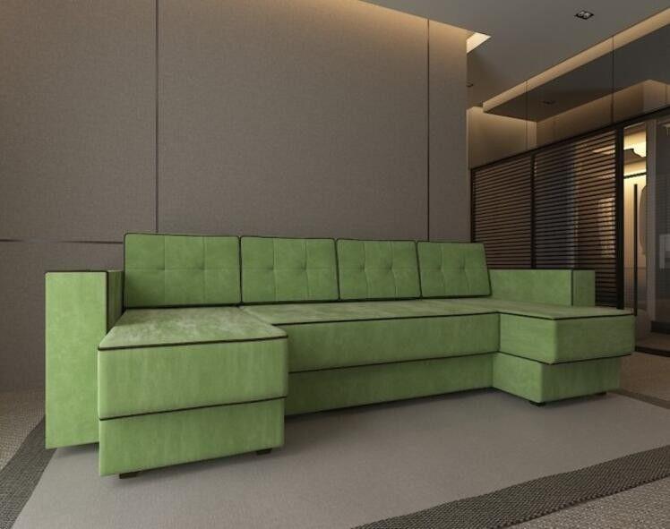 Диван Craftmebel Принстон П-образный зеленый вельвет - фото 1