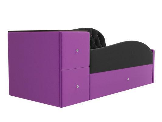 Диван ЛигаДиванов Джуниор левый 102201 микровельвет черный/фиолетовый - фото 2