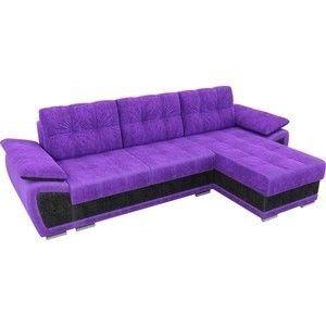 Диван ЛигаДиванов Нэстор угол правый велюр фиолетовый вставка черная - фото 2