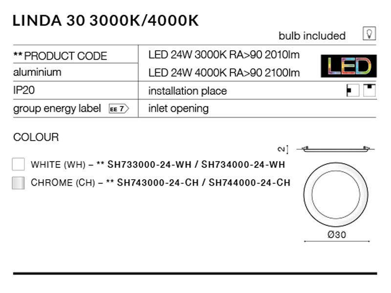 Настенно-потолочный светильник AZzardo Linda SH743000-24-CH - фото 3