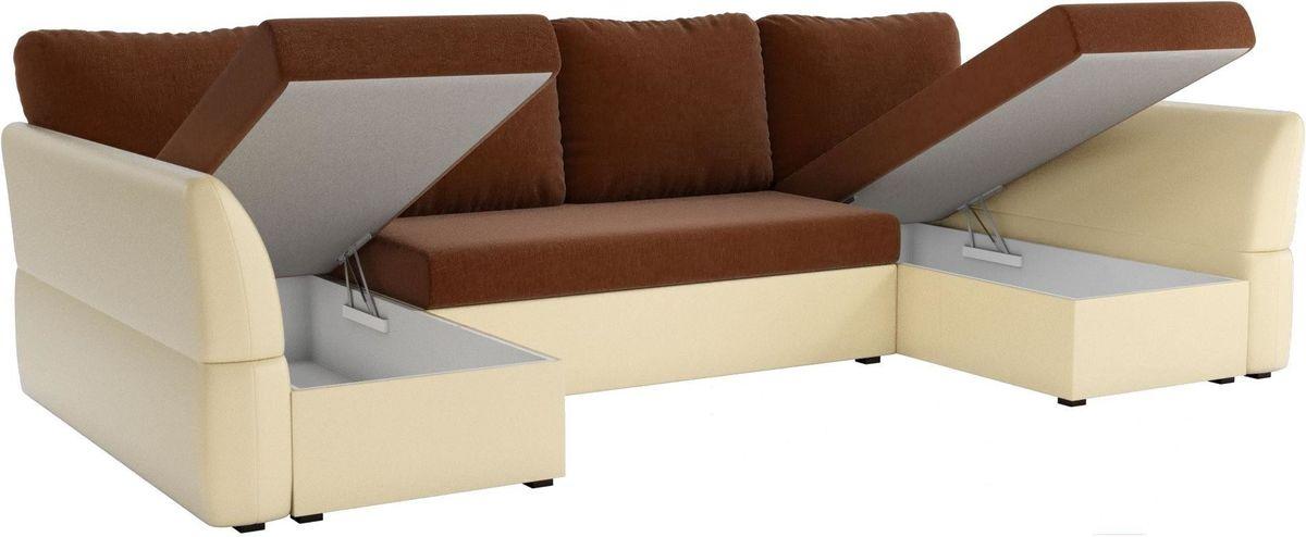Диван Mebelico Гесен-П 101 рогожка коричневый/экокожа бежевый - фото 2