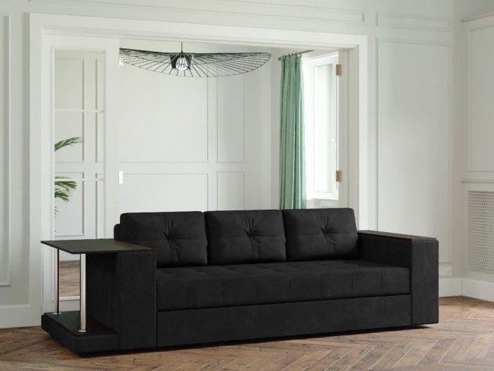 Диван Настоящая мебель Ванкувер Лайт со столом (модель 00-00003453) черный - фото 1