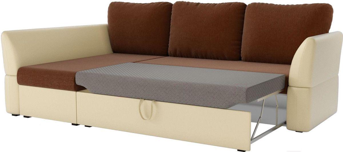 Диван Mebelico Гесен 100 левый 60064 рогожка коричневый/экокожа бежевый - фото 3