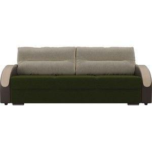 Диван ЛигаДиванов Дарси микровельвет зеленый подлокотники экокожа коричневые подушки микровельвет бежевый - фото 2