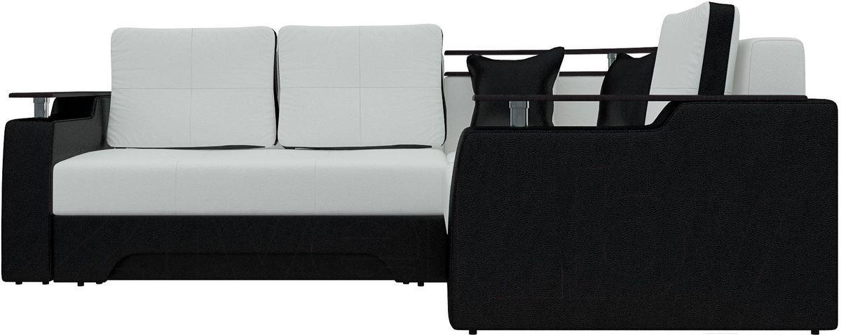 Диван Mebelico Комфорт 90 правый экокожа белый/черный - фото 2