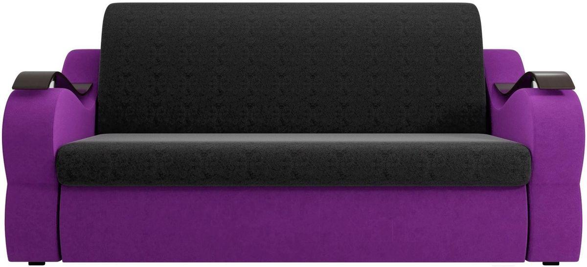 Диван Mebelico Меркурий 222 120,вельвет черный/фиолетовый - фото 1