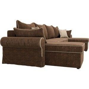 Диван ЛигаДиванов Элис П 124 60664 велюр коричневый бежевые подушки - фото 5