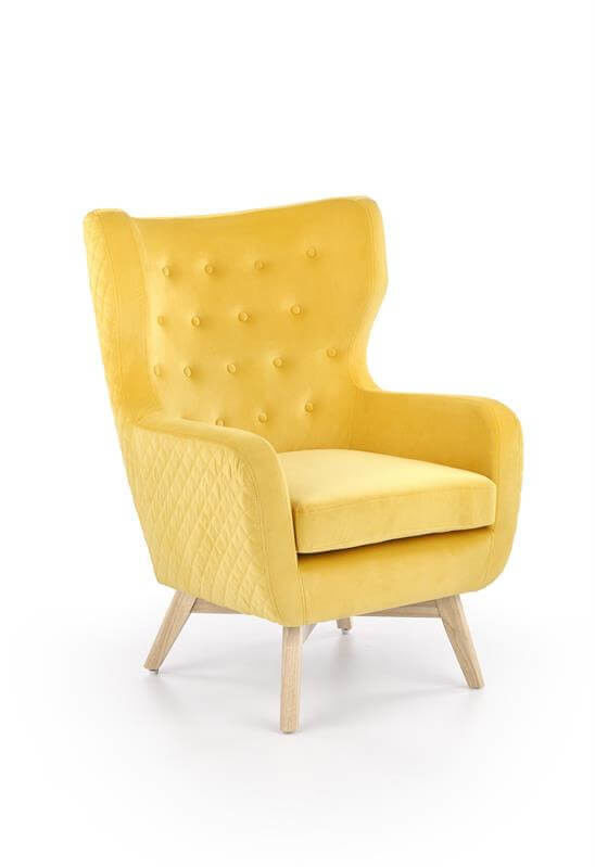 Кресло Halmar MARVEL (желтый/натуральный) V-CH-MARVEL-FOT-MUSZTARDOWY - фото 1