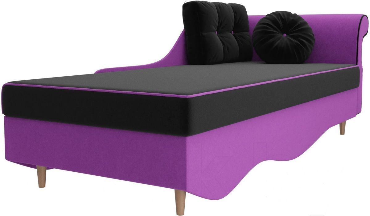 Диван Mebelico Лорд правый 101227 микровельвет черный/фиолетовый - фото 4