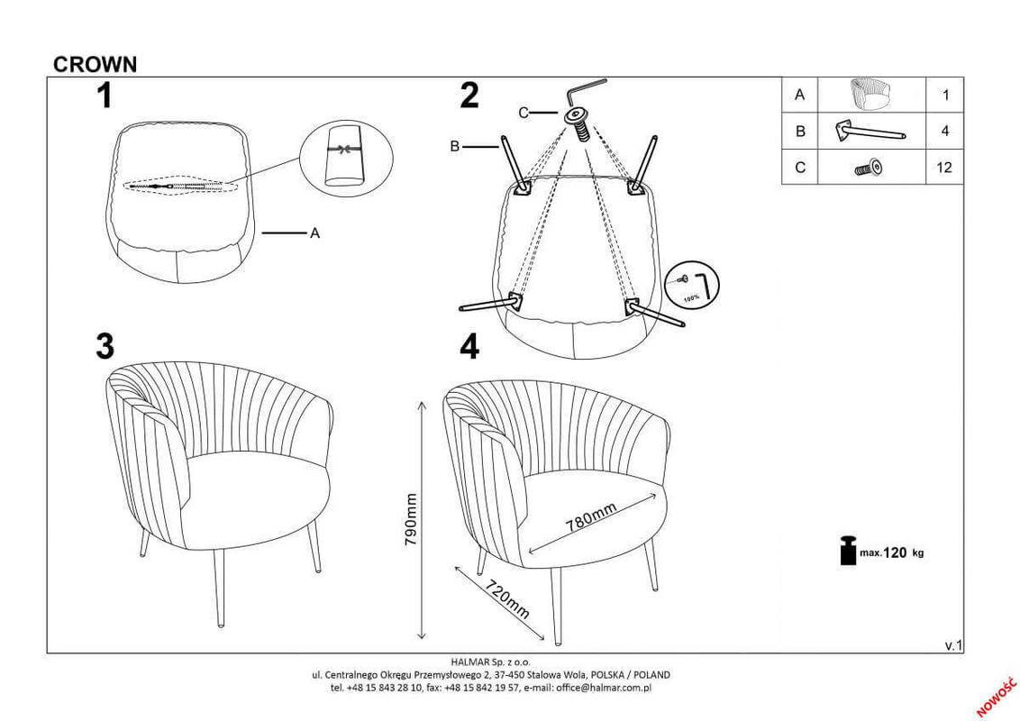Кресло Halmar CROWN (бордовый/золотой) V-CH-CROWN-FOT-BORDOWY - фото 2