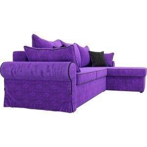 Диван ЛигаДиванов Элис 123 угловой правый 60653 велюр фиолетовый, черные подушки - фото 5
