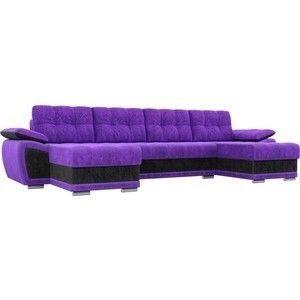 Диван ЛигаДиванов Нэстор п-образный велюр фиолетовый вставка черная - фото 1