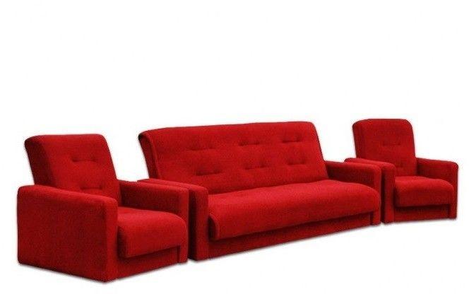 Набор мягкой мебели Луховицкая мебельная фабрика Милан Астра красный (диван+2 кресла) 140x190 - фото 1