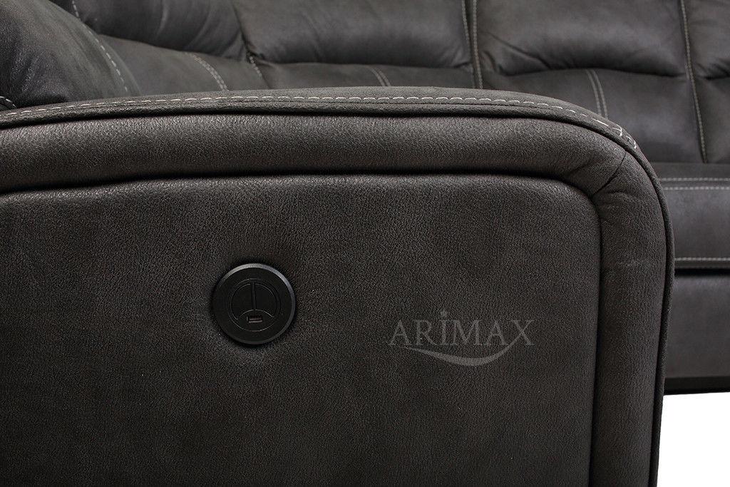 Диван Arimax Кингстон (Мокрый асфальт) левый с электрореклайнером - фото 7
