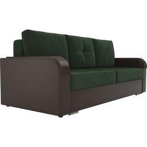 Диван ЛигаДиванов Мейсон велюр зеленый/экокожа коричневый - фото 1