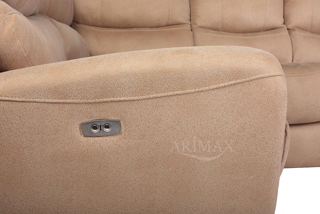 Диван Arimax Даллас (Топленое молоко) левый с электрореклайнером - фото 8
