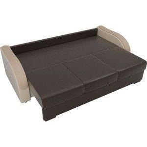 Диван ЛигаДиванов Дарси экокожа коричневый подлокотники бежевые подушки бежевые - фото 4