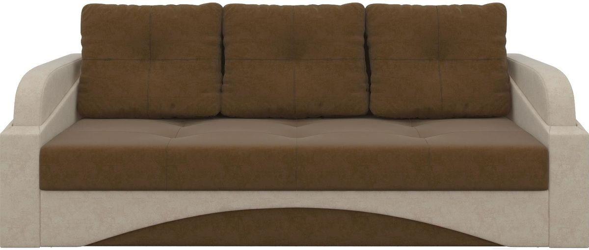 Диван Mebelico Панда 70 микровельв. коричневый/бежевый - фото 1