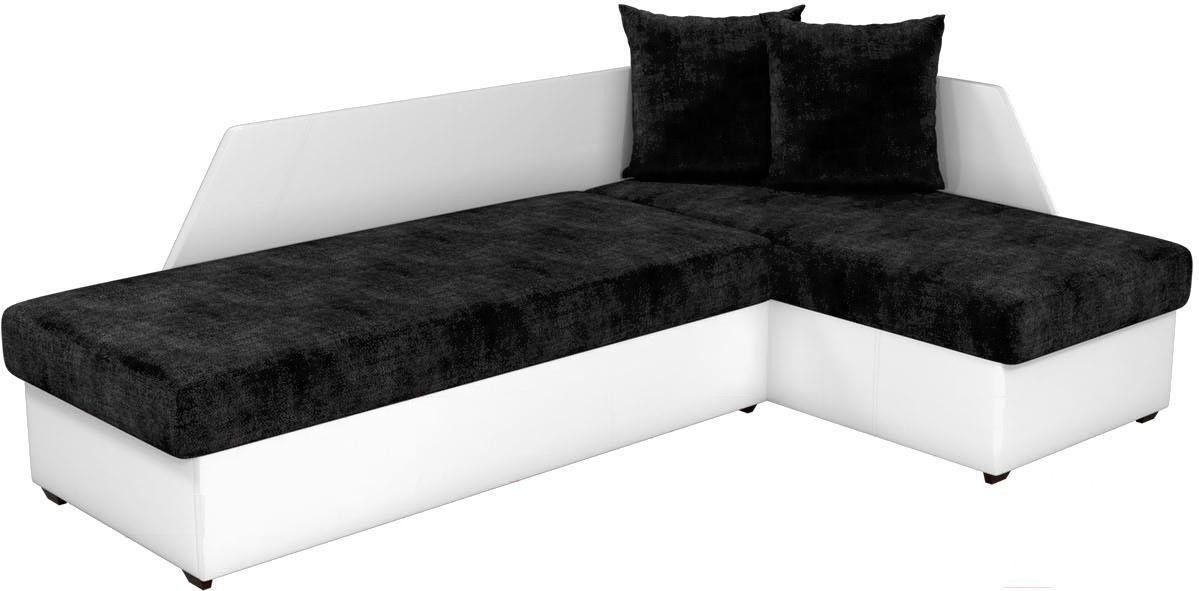 Диван Mebelico Андора 87 угловая правая микровельвет черный/белый - фото 1